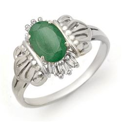 0.81 CTW Emerald & Diamond Ring 18K White Gold - REF-36F7N - 14205