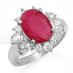 4.42 CTW Ruby & Diamond Ring 18K White Gold - REF-90M5F - 13281
