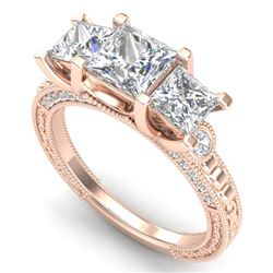 2.66 CTW Princess VS/SI Diamond Art Deco 3 Stone Ring 18K Rose Gold - REF-581H8M - 37158
