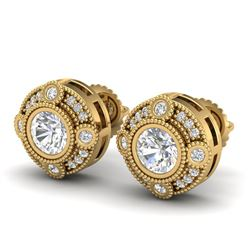 1.50 CTW VS/SI Diamond Solitaire Art Deco Stud Earrings 18K Yellow Gold - REF-263X6R - 36982