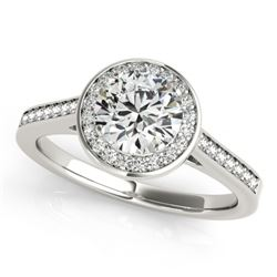 0.75 CTW Certified VS/SI Diamond Solitaire Halo Ring 18K White Gold - REF-132V7Y - 26356
