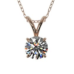 0.51 CTW Certified H-SI/I Quality Diamond Solitaire Necklace 10K Rose Gold - REF-51N2A - 36718
