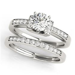 0.76 CTW Certified VS/SI Diamond Solitaire 2Pc Set 14K White Gold - REF-134H5M - 31583