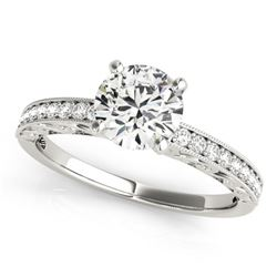 0.50 CTW Certified VS/SI Diamond Solitaire Micro Pave Ring 18K White Gold - REF-72R4K - 27240