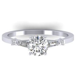 1.04 CTW Certified VS/SI Diamond Solitaire Ring 14K White Gold - REF-179M6F - 30390