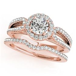 1.11 CTW Certified VS/SI Diamond 2Pc Wedding Set Solitaire Halo 14K Rose Gold - REF-144F2N - 30871