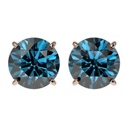 3 CTW Certified Intense Blue SI Diamond Solitaire Stud Earrings 10K Rose Gold - REF-379Y3X - 33127