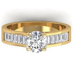 1.75 CTW Certified VS/SI Diamond Solitaire Art Deco Ring 14K Yellow Gold - REF-422M4F - 30350