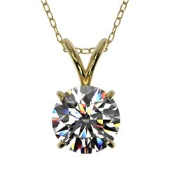 1 CTW Certified H-SI/I Quality Diamond Solitaire Necklace 10K Yellow Gold - REF-147A2V - 33184