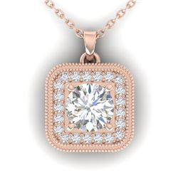 1.32 CTW Certified VS/SI Diamond Art Deco Micro Halo Necklace 14K Rose Gold - REF-193W3H - 30502