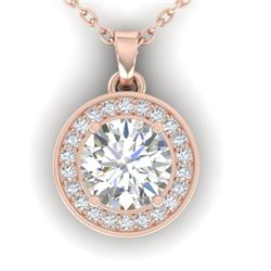 0.96 CTW Certified VS/SI Diamond Art Deco Micro Halo Necklace 14K Rose Gold - REF-170X4R - 30358