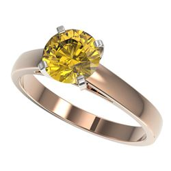 1.50 CTW Certified Intense Yellow SI Diamond Solitaire Ring 10K Rose Gold - REF-216V3Y - 33028