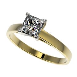 1 CTW Certified VS/SI Quality Princess Diamond Engagement Ring 10K Yellow Gold - REF-297F2N - 32996
