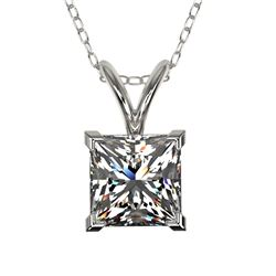 1 CTW Certified VS/SI Quality Princess Diamond Solitaire Necklace 10K White Gold - REF-265X3R - 3319