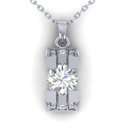 1.15 CTW Certified VS/SI Diamond Art Deco Stud Necklace 14K White Gold - REF-123W3H - 30291