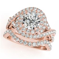 1.76 CTW Certified VS/SI Diamond 2Pc Wedding Set Solitaire Halo 14K Rose Gold - REF-251X3R - 31032