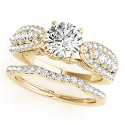 1.96 CTW Certified VS/SI Diamond Solitaire 2Pc Wedding Set 14K Yellow Gold - REF-422F7N - 31906
