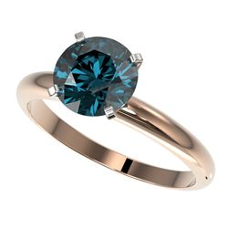 2 CTW Certified Intense Blue SI Diamond Solitaire Engagement Ring 10K Rose Gold - REF-417F6N - 32939