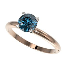 1 CTW Certified Intense Blue SI Diamond Solitaire Engagement Ring 10K Rose Gold - REF-136M4F - 32891