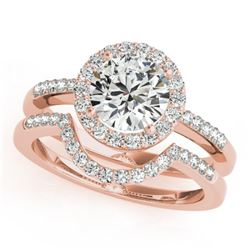 1.18 CTW Certified VS/SI Diamond 2Pc Wedding Set Solitaire Halo 14K Rose Gold - REF-216R2K - 30772