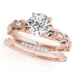 0.96 CTW Certified VS/SI Diamond Solitaire 2Pc Wedding Set Antique 14K Rose Gold - REF-207W3H - 3145