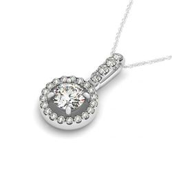 0.72 CTW Certified SI Diamond Solitaire Halo Necklace 14K White Gold - REF-98N7A - 30095