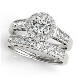 1.71 CTW Certified VS/SI Diamond 2Pc Wedding Set Solitaire Halo 14K White Gold - REF-234M5F - 31256