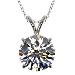 2 CTW Certified H-SI/I Quality Diamond Solitaire Necklace 10K White Gold - REF-585K2W - 33230