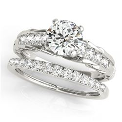 1.04 CTW Certified VS/SI Diamond Solitaire 2Pc Wedding Set 14K White Gold - REF-200X4R - 31646