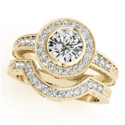 1.30 CTW Certified VS/SI Diamond 2Pc Wedding Set Solitaire Halo 14K Yellow Gold - REF-228F7N - 31048