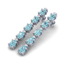 15.47 CTW Sky Blue Topaz & VS/SI Certified Diamond Earrings 10K White Gold - REF-74R7K - 29494