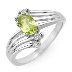 0.55 CTW Peridot & Diamond Ring 18K White Gold - REF-40X2R - 13437