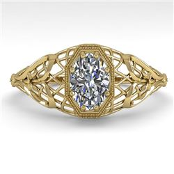 0.50 CTW VS/SI Oval Diamond Solitaire Engagement Ring Deco Size 7 18K Yellow Gold - REF-104M7F - 360