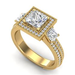 2.5 CTW Princess VS/SI Diamond Micro Pave 3 Stone Ring 18K Yellow Gold - REF-527N3A - 37198
