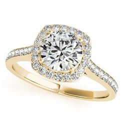 1.40 CTW Certified VS/SI Diamond Solitaire Halo Ring 18K Yellow Gold - REF-382R4K - 26876