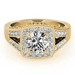1.65 CTW Certified VS/SI Diamond Solitaire Halo Ring 18K Yellow Gold - REF-608K9W - 27029