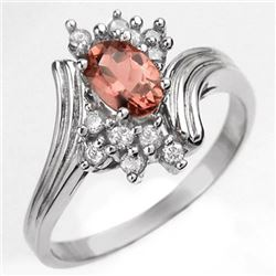 0.80 CTW Pink Tourmaline & Diamond Ring 18K White Gold - REF-47H3M - 10006