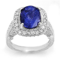 5.40 CTW Tanzanite & Diamond Ring 14K White Gold - REF-224H7M - 10722