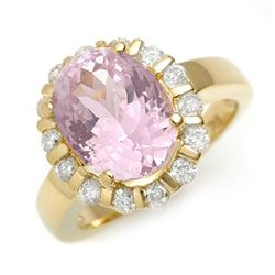 7.65 CTW Kunzite & Diamond Ring 10K Yellow Gold - REF-99M6F - 11246