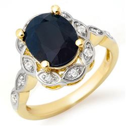 4.15 CTW Blue Sapphire & Diamond Ring 14K Yellow Gold - REF-50Y9X - 14439