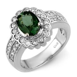 2.35 CTW Green Tourmaline & Diamond Ring 14K White Gold - REF-88Y4X - 10856