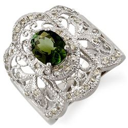 2.15 CTW Green Tourmaline & Diamond Ring 10K White Gold - REF-70V9Y - 11164