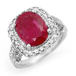 9.40 CTW Ruby & Diamond Ring 14K White Gold - REF-180V2Y - 13445