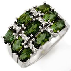 3.15 CTW Green Tourmaline & Diamond Ring 10K White Gold - REF-47M6F - 11727
