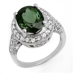 6.0 CTW Green Tourmaline & Diamond Ring 14K White Gold - REF-160M2F - 11618