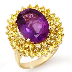 10.25 CTW Yellow Sapphire & Amethyst Ring 10K Yellow Gold - REF-67R6K - 11737