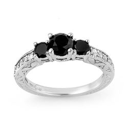 1.40 CTW VS Certified Black & White Diamond Ring 14K White Gold - REF-63K3W - 11836
