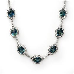31.0 CTW Blue Sapphire & Diamond Necklace 14K White Gold - REF-275Y8X - 10468