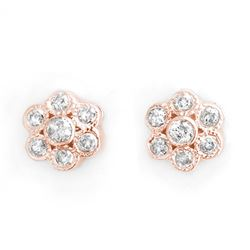 0.50 CTW Certified VS/SI Diamond Earrings 14K Rose Gold - REF-40K9W - 10670