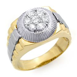 0.75 CTW Certified VS/SI Diamond Men's Ring 18K 2-Tone Gold - REF-138R4K - 14423
